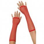 Длинные красные перчатки в сетку