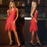 Яркое красное клубное платье