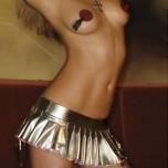 Серебристая юбка с вишней на молнии