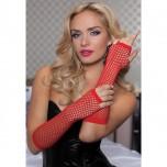 Длинные ажурные перчатки красные RED