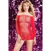 Откровенное красное платье в крупную сетку